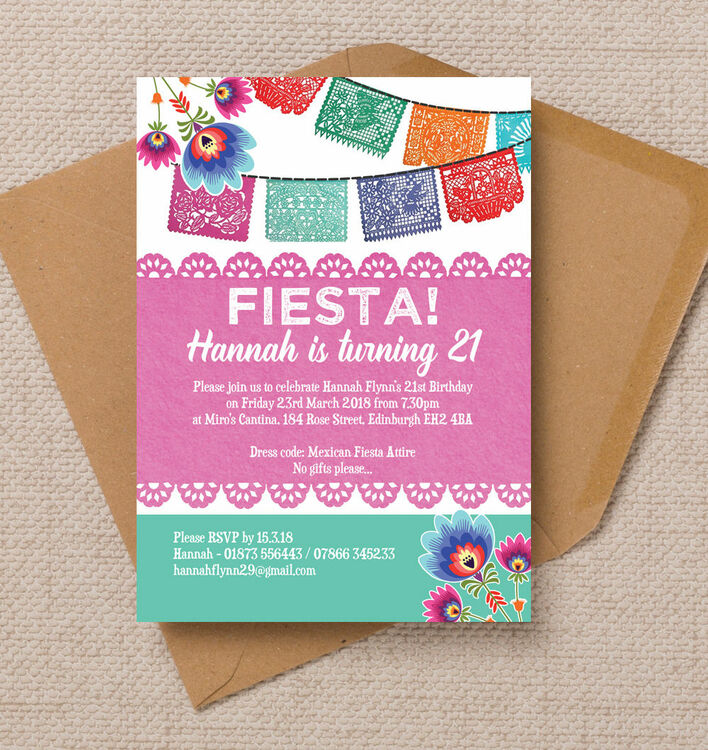 Mexican Fiesta Themed 21st Birthday Party Invitation from £1.25 each