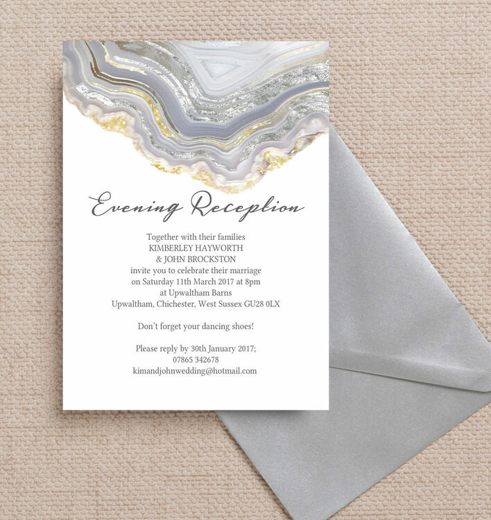 Wedding Ideas For Evening Reception: Agate Crystal Silver Grey Evening Reception Invitation