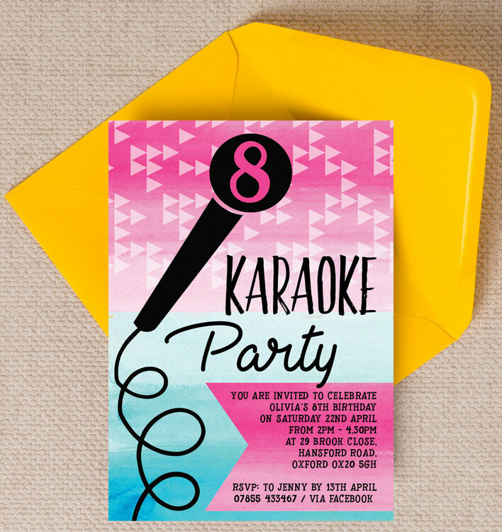 Karaoke Themed Birthday Party Invitation from £0.80 each