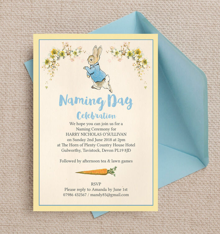 Peter Rabbit Naming Day Ceremony Invitation from £0.80 each