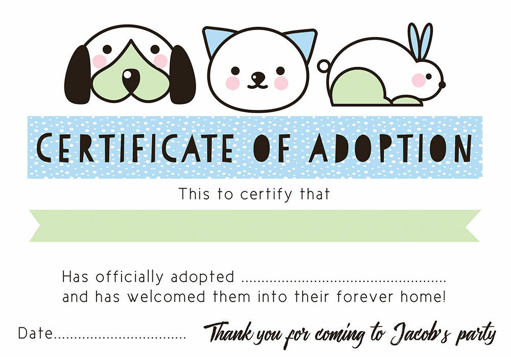 Pet Rescue Party Pretend U0027Adoption Certificateu0027   Blue Additional 1