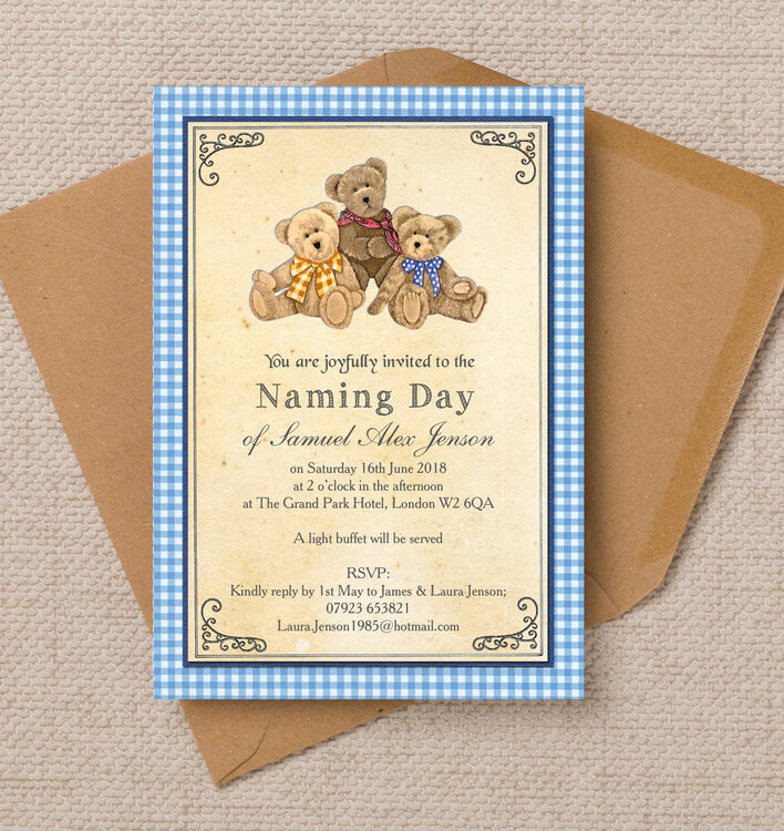 Teddy Bears\' Picnic Naming Day Ceremony Invitation from £0.80 each