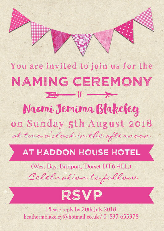 pink bunting naming ceremony day invitation from  u00a30 80 each