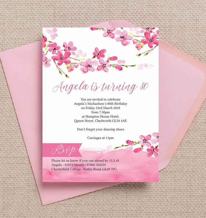 Cherry Blossom Pink Floral Birthday Party Invitation from £1.20 each