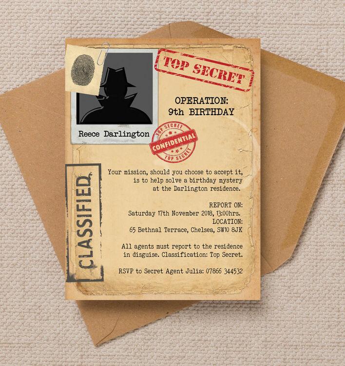 spy mission    secret agent birthday party invitation from
