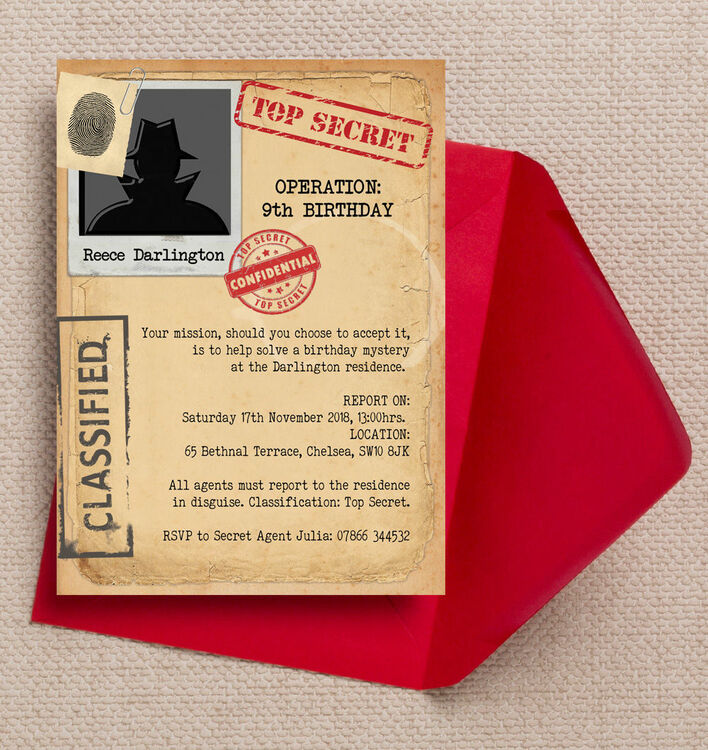 Spy Mission / Secret Agent Birthday Party Invitation from £0.80 each