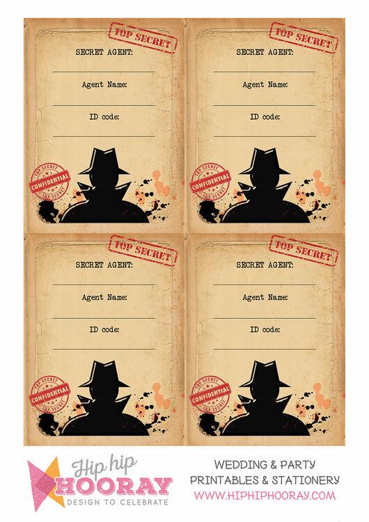 Spy Mission Secret Agent Name Cards Set Of 9 From 163 5