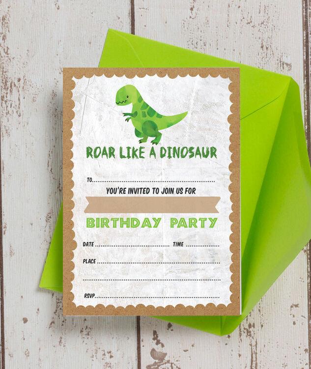 Pack Of 10 Dinosaur Themed Kids Birthday Party Invitations