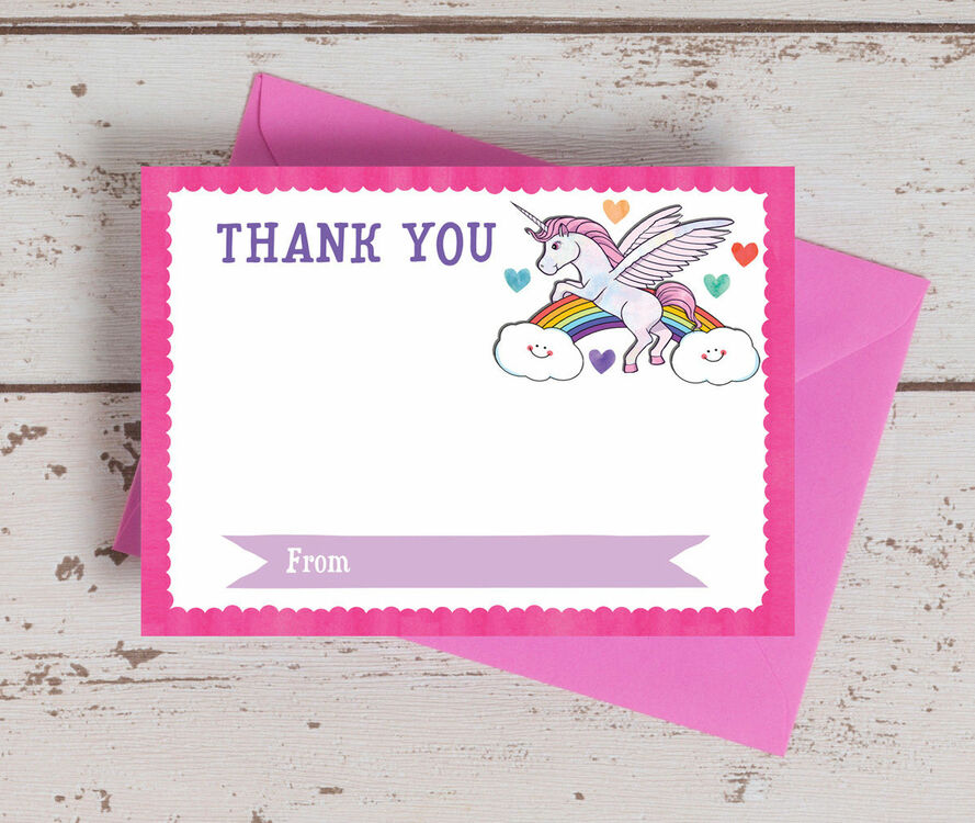 Pack of 10 Rainbow Unicorn Thank You Cards (Non-Personalised) from ...