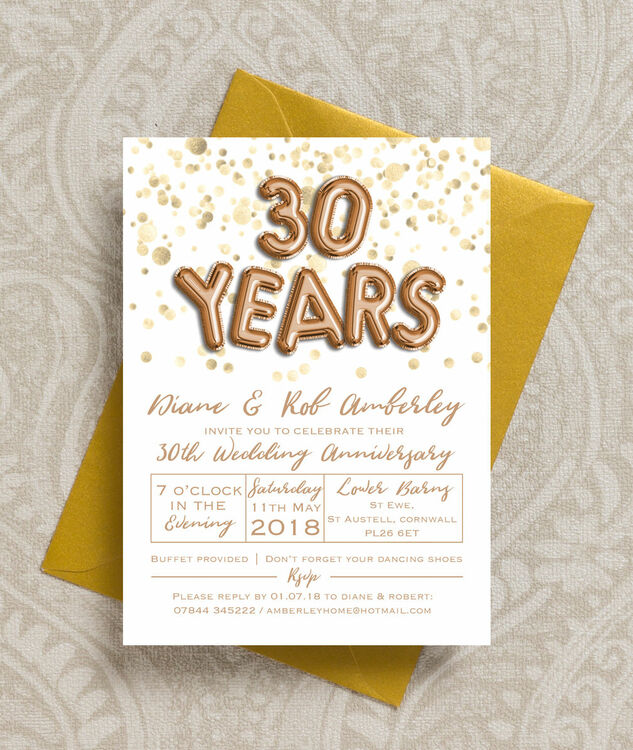 Gold Balloon Letters 30th Pearl Wedding Anniversary Invitation Additional 2