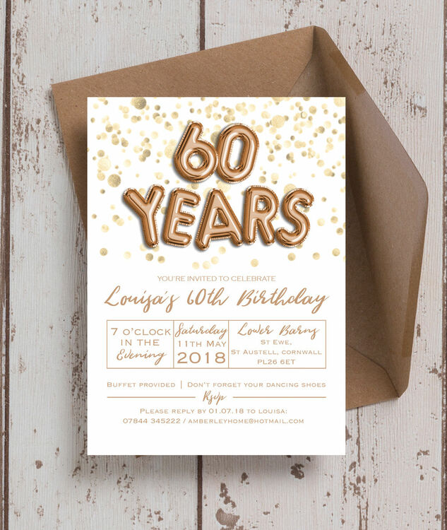 Gold Balloon Letters Th Birthday Party Invitation From Each - Letters of birthday invitation