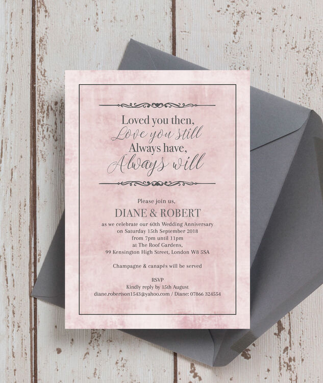 ... Pastel Pink Quote 60th / Diamond Wedding Anniversary Invitation  Additional 2