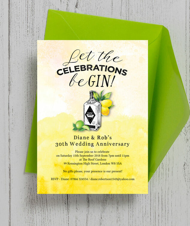 Gin Tonic Themed 30th Pearl Wedding Anniversary Invitation Additional 4