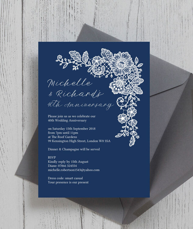 Navy Blue Floral Lace 40th Ruby Wedding Anniversary Invitation Additional 2