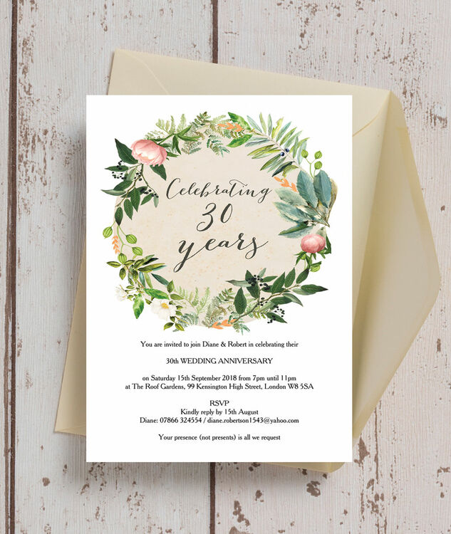 Floral Wreath 30th Pearl Wedding Anniversary Invitation Additional 2