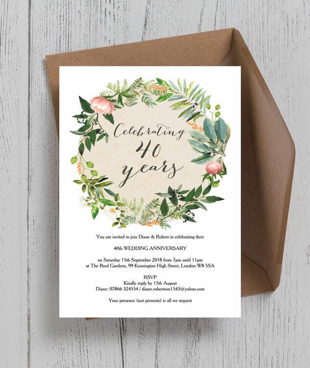 Floral Wreath 40th Ruby Wedding Anniversary Invitation Additional 1