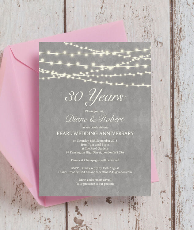 Grey fairy lights 30th pearl wedding anniversary for Pearl wedding invitations