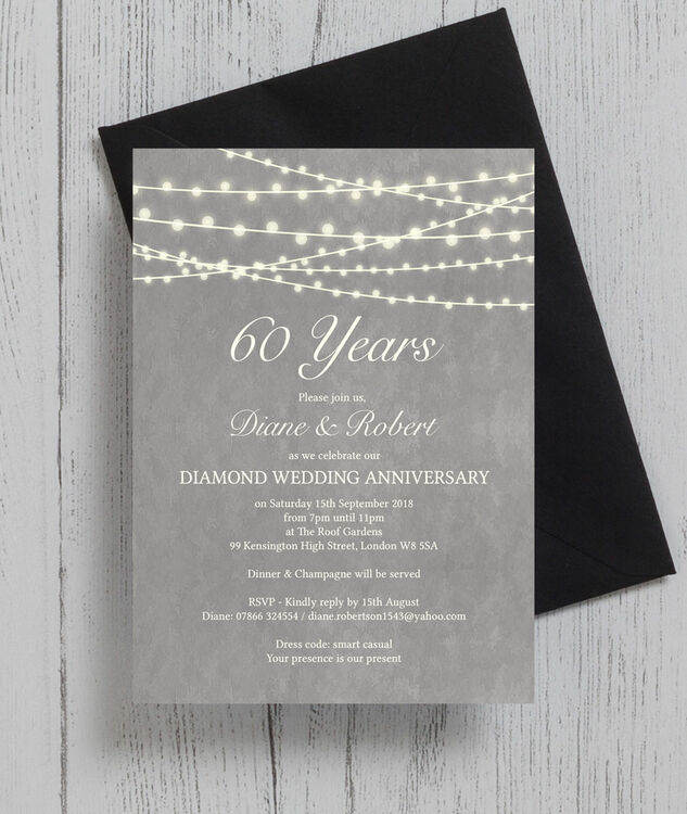Grey Fairy Lights 60th Diamond Wedding Anniversary