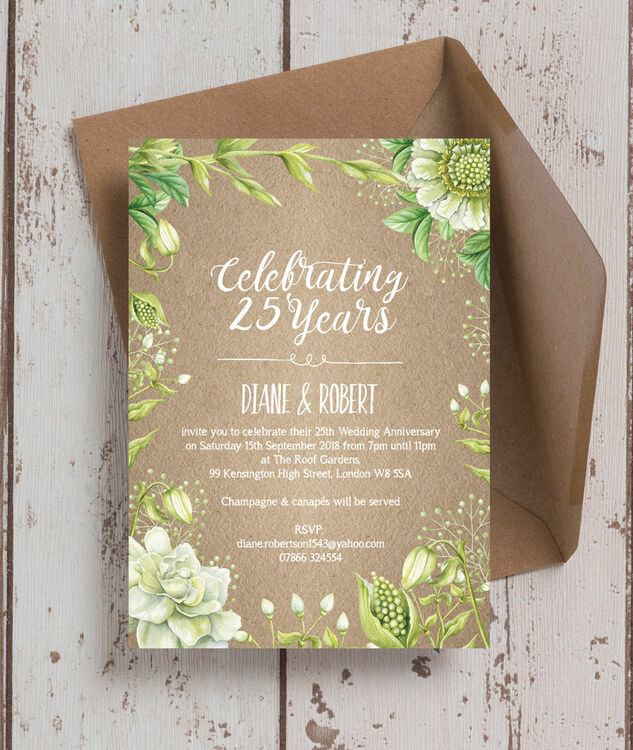 Rustic Greenery 25th Silver Wedding Anniversary
