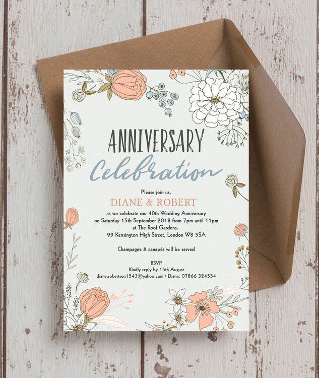 Wild Flowers 40th Ruby Wedding Anniversary Invitation Additional 2