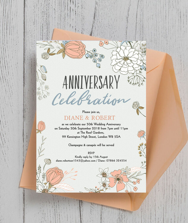 wild flowers 50th golden wedding anniversary invitation from each. Black Bedroom Furniture Sets. Home Design Ideas