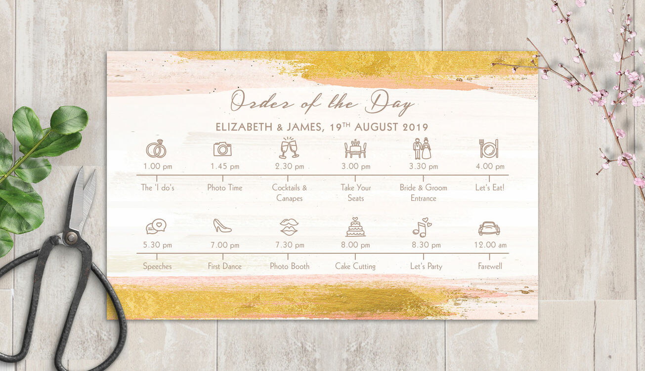Blush Pink & Gold Wedding Timeline Cards From £1.00 Each