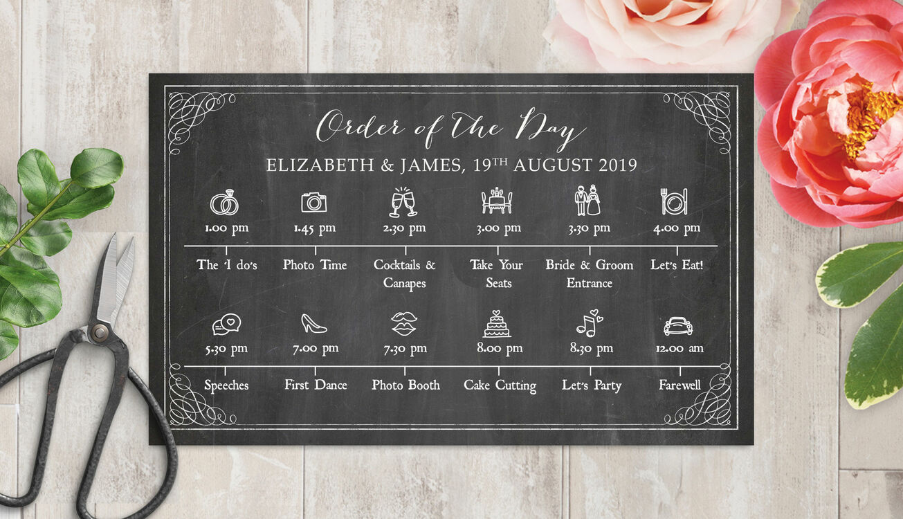Wedding Order Of The Day: Rustic Chalkboard Wedding Timeline Cards From £1.00 Each