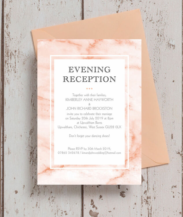 Wedding Ideas For Evening Reception: Blush Marble Evening Reception Invitation From £0.85 Each