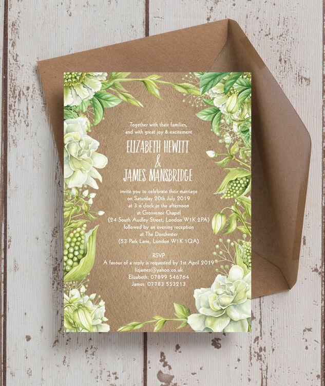 Rustic Greenery Wedding Invitation From £1.00 Each