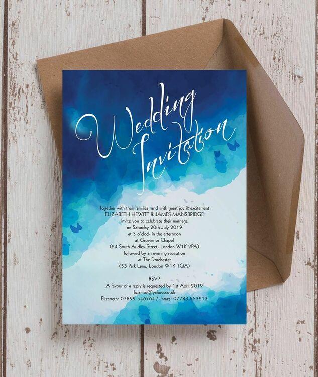 blue watercolour wedding invitation from  u00a31 00 each