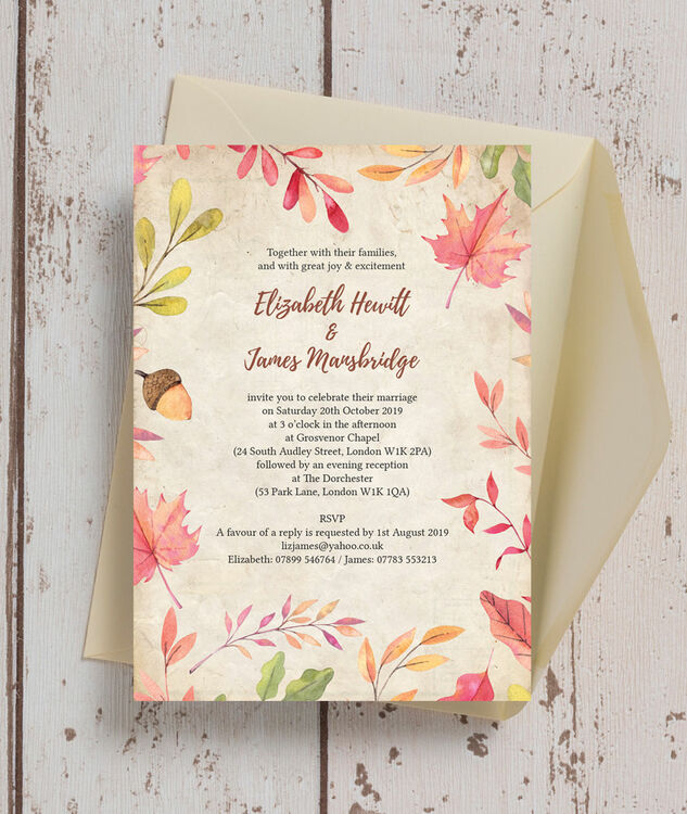 Autumn Leaves Wedding Invitation Additional 1 2
