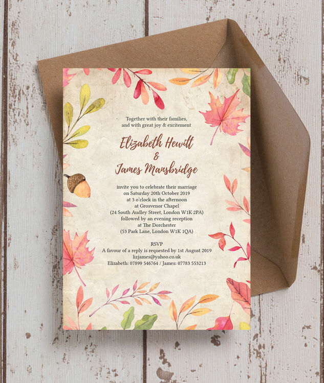 Autumn Leaves Wedding Invitation Additional 1