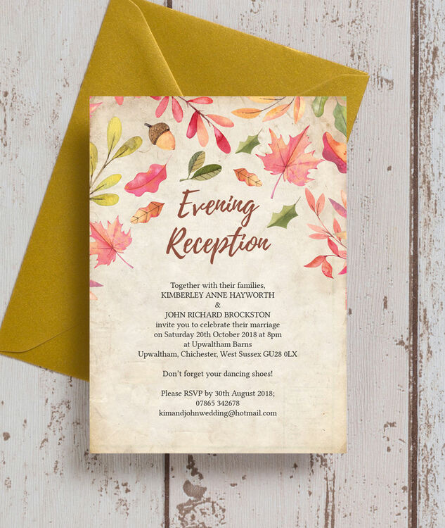 Autumn Leaves Evening Reception Invitation Additional 1 2