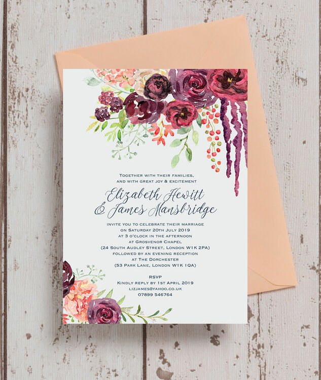 Burgundy Watercolour Floral Wedding Invitation From 163 1 00 Each