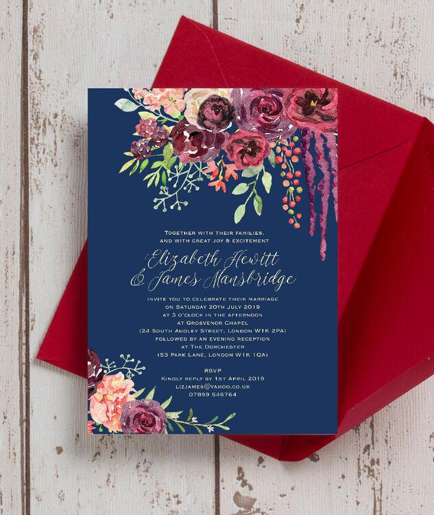 navy  u0026 burgundy floral wedding invitation from  u00a31 00 each