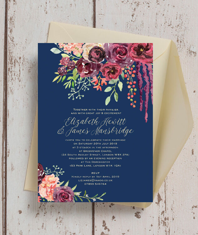 navy wedding invitations navy amp burgundy floral wedding invitation from 163 1 00 each 6135