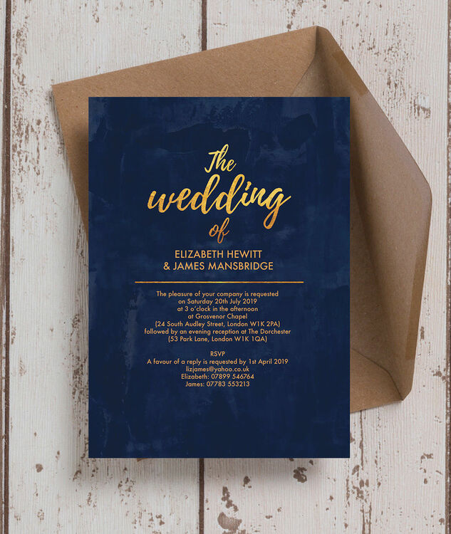 navy gold wedding invitation from each
