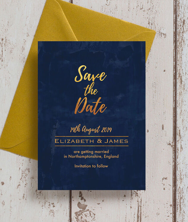 Navy Blue And Gold Wedding Invitations: Navy & Gold Save The Date From £0.85 Each