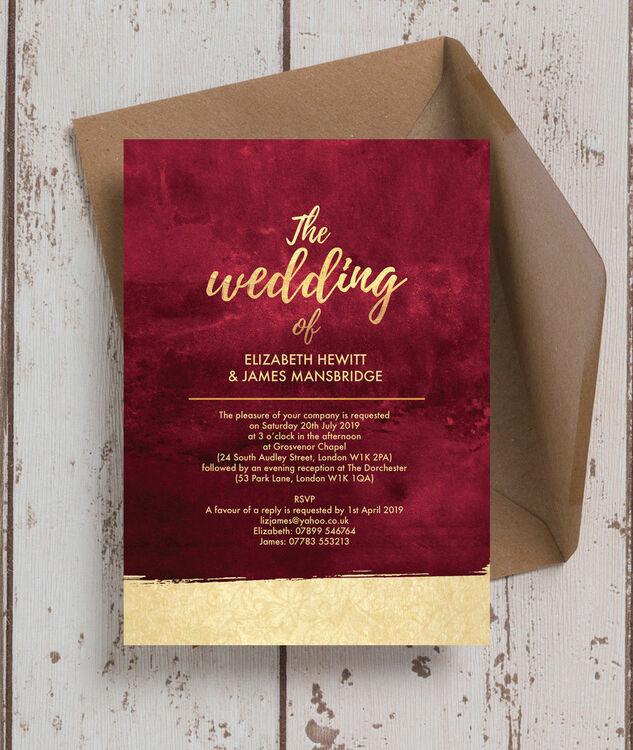 Burgundy Amp Gold Wedding Invitation From 163 1 00 Each