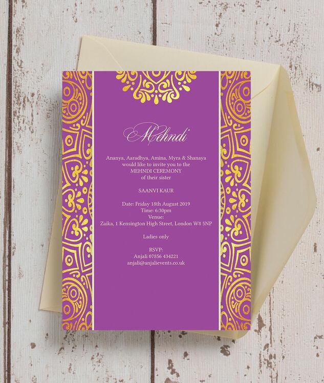 purple mandala mehndi    baraat card from  u00a31 00 each