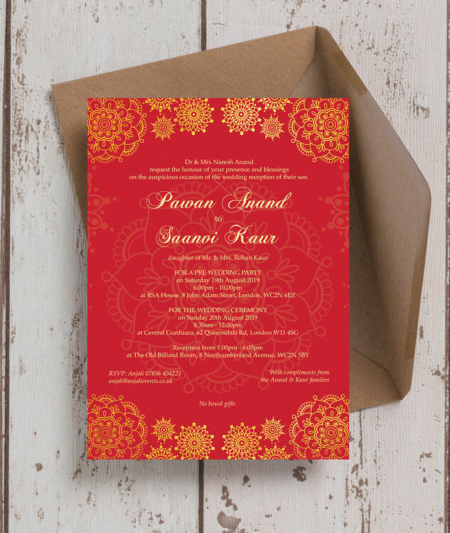 red  gold indian  asian wedding invitation from £100 each