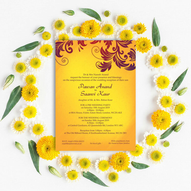 Yellow & Burgundy Indian / Asian Wedding Invitation from £1.00 each