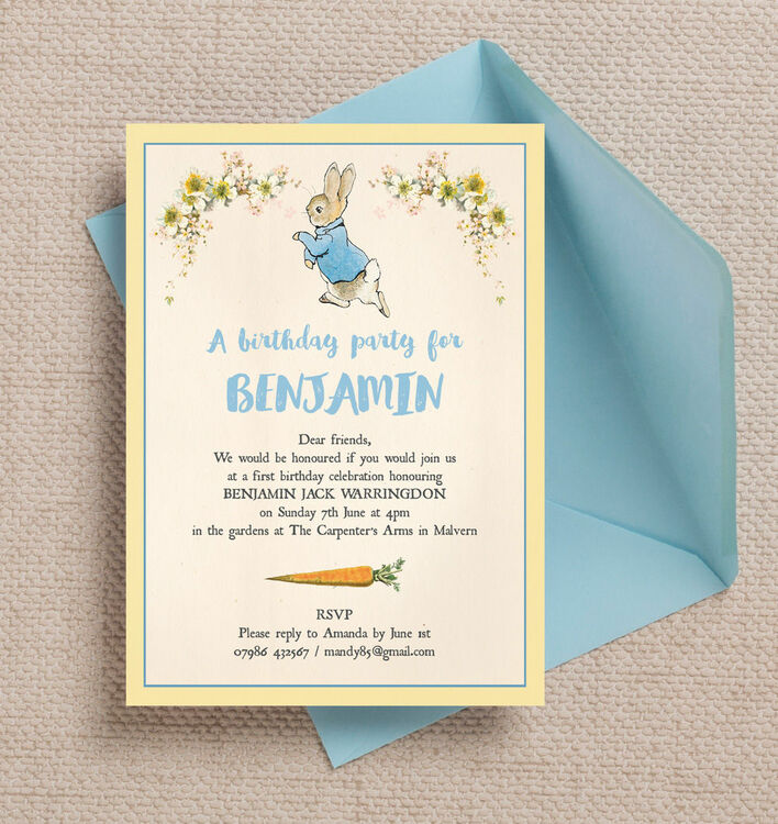 Beatrix Potter Peter Rabbit Party Invitation – Personalised Party Invites