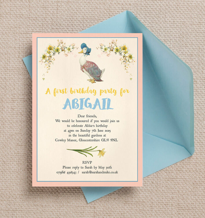 Beatrix Potters Jemima PuddleDuck Party Invitation from 080 each – Stork Party Invites