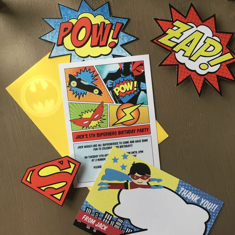 Superhero Children's Party Invitation from £0.80 each