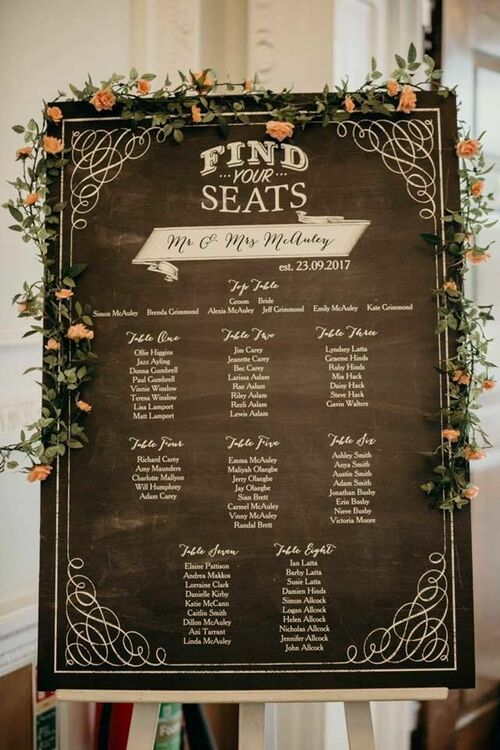 Chalkboard Wedding Seating Plan From 163 65 00 Each