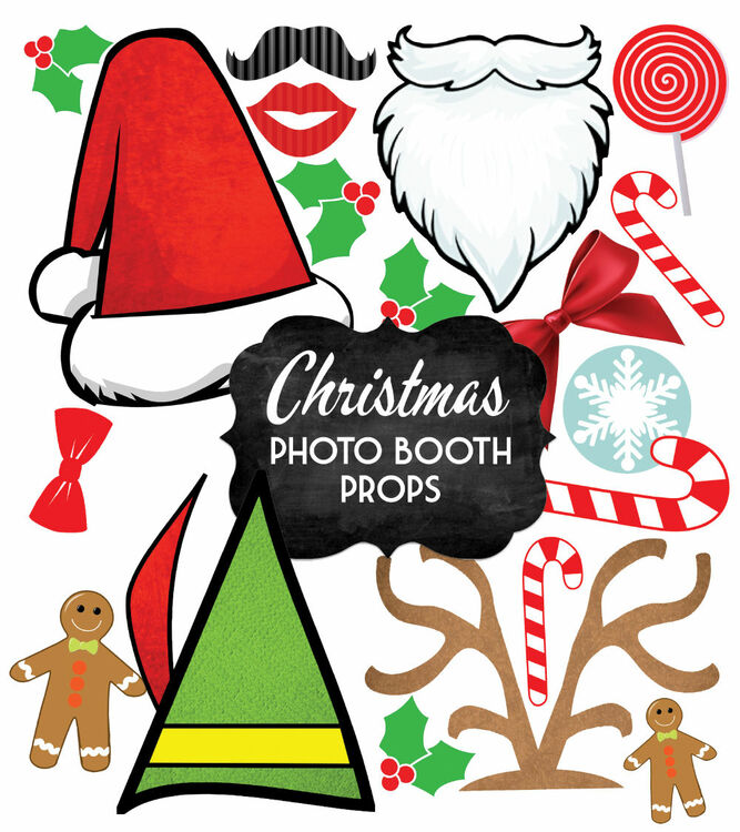 Christmas holiday themed printable photo booth props only