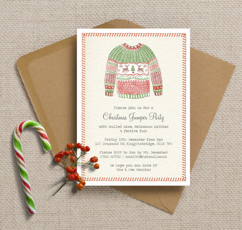Personalised Christmas Jumper Party Invitations - Printed or ...