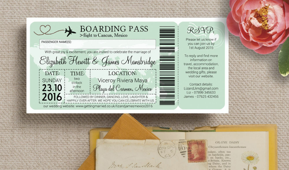 ... Boarding Pass Travel Themed Wedding Invitation Additional 3 ...