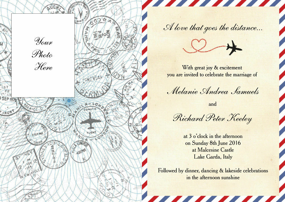 Airmail Wedding Invitations: Vintage Airmail Passport Wedding Invitation From £1.00 Each